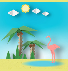 Summer tropical applique scene vector