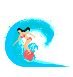 surfer girl on surfboard vector image