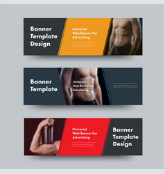 Templates of black horizontal web banners with vector