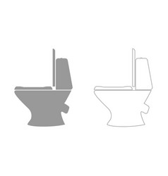 toilet bowl grey set icon vector image