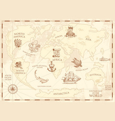 Vintage world map with compass and mountains sea vector