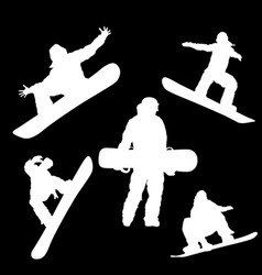 white silhouette of a man with a snowboard on a vector image