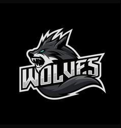 wolves mascot esport logo vector image