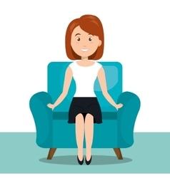 woman sitting on sofa icon vector image