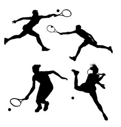 black silhouette of tennis player on white vector image