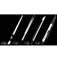 brush set on black background vector image vector image