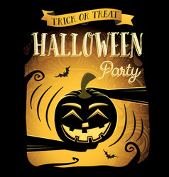 Happy Halloween poster with laugh pumpkin vector image