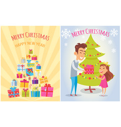 merry christmas and happy new year postcards set vector image vector image
