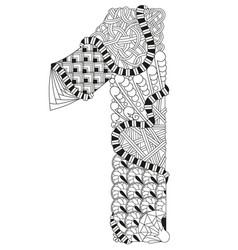 number one zentangle decorative number vector image vector image