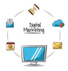 poster of digital marketing with lcd monitor in vector image