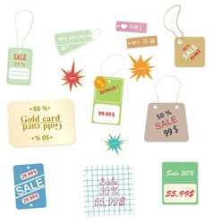 Set of colourful price tags on a white background vector image vector image