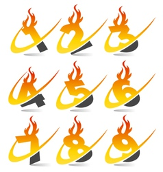 Swoosh Flame Logo Numbers vector image