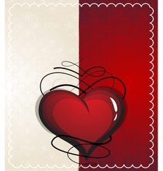 Valentine heart with vintage pattern vector image vector image