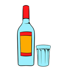 bottle of vodka and glass icon cartoon vector image