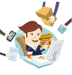 funny multitasking business man eating sandwich vector image