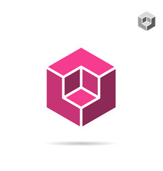 isometric cubic shape vector image vector image