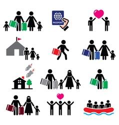 Refugee immigrants families running away vector image vector image