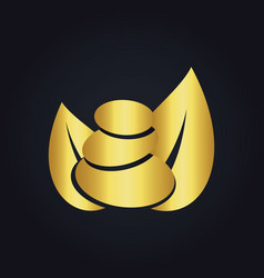 stone meditation organic gold nature logo vector image