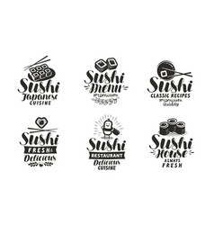sushi and rolls logo or label japanese food set vector image