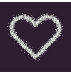 Valentine s Day symbol Heart Silver sparkles and vector image