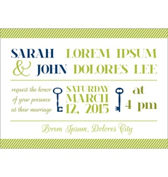 Wedding Invitation Card - Key Theme vector image vector image