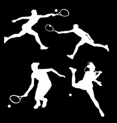 white silhouette of a tennis player in different vector image