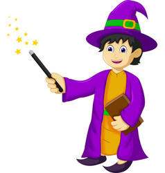 funny witch cartoon holding book and magic stick vector image vector image