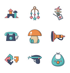 girl toys icons set flat style vector image