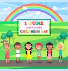 happy childrens day poster with kids in park vector image vector image