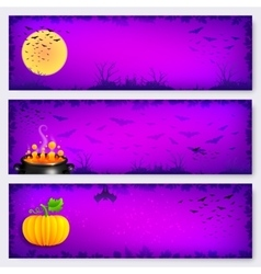 Purple Halloween banners backgrounds set vector image vector image