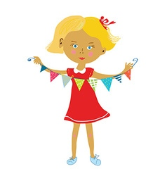 Child with buntings flags party or birthday vector image