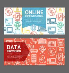 Computer online communication flyer banner posters vector