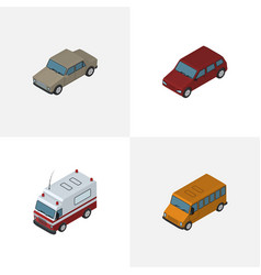 Isometric automobile set of auto autobus first vector