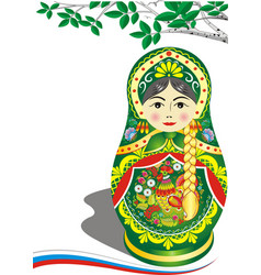 russian doll in green outfit brunette the branch vector image vector image