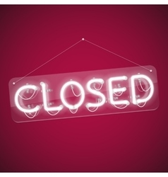 White Glowing Neon Closed Sign vector image vector image