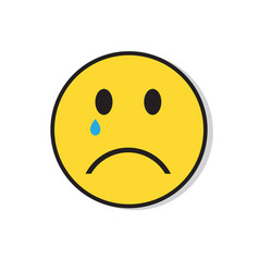 Yellow sad face cry negative people emotion icon vector