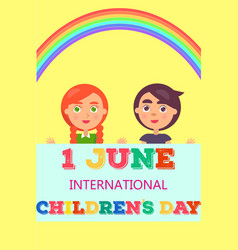 1 june international day poster with two kids vector image