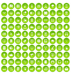 100 technology icons set green vector