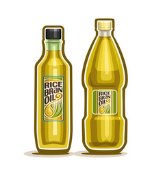 2 yellow bottles with rice bran oil vector image