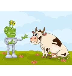 Alien and cow meeting vector image