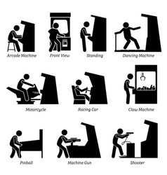 arcade center games machines pictograph depicts vector image