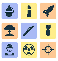 Army icons set with rocket cutter slug and other vector
