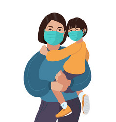 Asian mother and daughter wear medical masks vector
