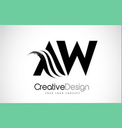Aw a w creative brush black letters design with vector