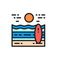 beach landscape flat color line icon isolated on vector image