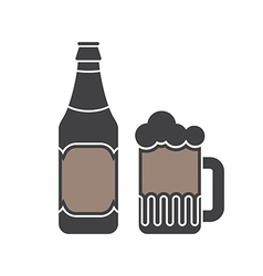 Beer Bottle And Glass Silhouettes vector