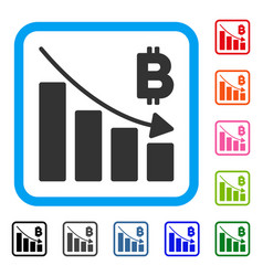 Bitcoin recession bar chart framed icon vector