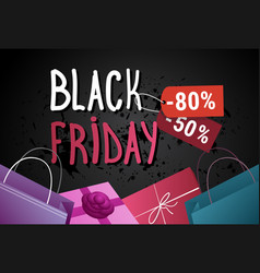 black friday sale banner with shopping bags and vector image