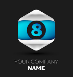 blue number eight logo in silver-blue hexagonal vector image