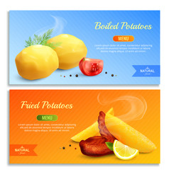 boiled and fried potatoes realistic banners vector image